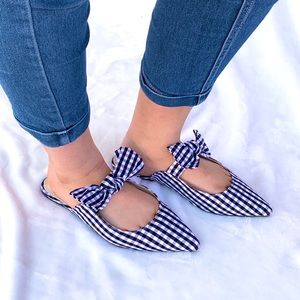 New Retro Blue White Gingham Pointed Toe Bow Flats